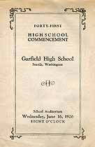 Thumbnail image of Garfield High School 1926 Commencement cover