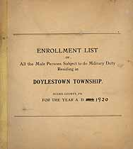Thumbnail image of Doylestown Township 1920 Enrollment List cover