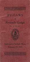 Thumbnail image of Riverside Lodge, No. 12, K. of P. 1921 By-Laws cover