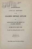 Thumbnail image of New York City Colored Orphan Asylum 1913 Report cover