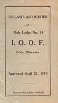 Thumbnail image of Blair Lodge, No. 14 I.O.O.F. 1915 By-Laws and Roster cover