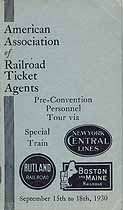 Thumbnail image of Railroad Ticket Agents Association 1930 Personnel Tour cover
