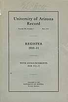 Thumbnail image of University of Arizona Record, 1910-11 Register cover