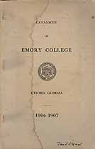 Thumbnail image of Emory College 1906-1907 Catalogue cover