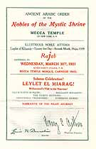 Thumbnail image of Mecca Temple A.A.O.N.M.S. 1921 Program cover