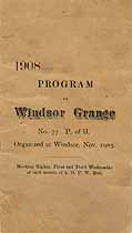 Thumbnail image of Windsor Grange, No. 77, 1908 Program cover