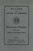 Thumbnail image of Shenango Chapter, No. 333, OES 1922 By-Laws cover