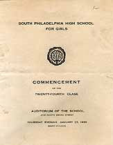 Thumbnail image of S. Philadelphia High Sch. for Girls 1930 Commencement cover