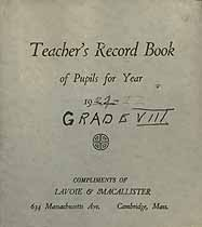 Thumbnail image of Unknown School, Teacher's Record Book, 1921-22, Grade VIII cover