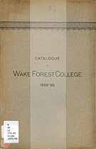 Thumbnail image of Wake Forest College 1889-90 Catalogue cover
