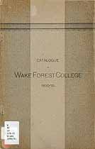 Thumbnail image of Wake Forest College 1890-91 Catalogue cover