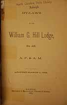 Thumbnail image of William G. Hill Lodge, A. F. & A. M. 1889 By-Laws cover