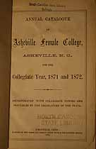 Thumbnail image of Asheville Female College 1871-72 Catalogue cover