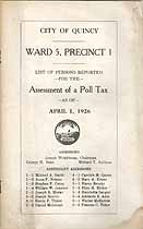 Thumbnail image of Quincy 1926 Poll Tax Assessment, Ward 5, Precinct 1 cover