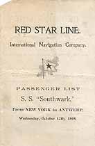 Thumbnail image of SS Southwark 1898 Souvenir Passenger List (NY to Antwerp) cover