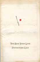Thumbnail image of SS Pennland 1929 Souvenir Passenger List (NY to Plymouth) cover