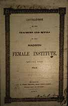 Thumbnail image of Madison Female Institute 1845-6 Catalogue cover