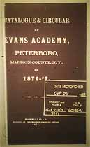 Thumbnail image of Evans Academy 1876-77 Catalogue cover