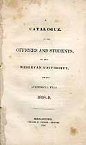Thumbnail image of Wesleyan University 1838-39 Catalogue cover