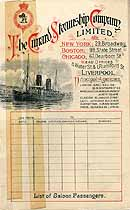 Thumbnail image of RMS Etruria 1900 Souvenir Passenger List (NY to Liverpool) cover