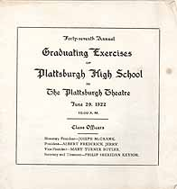 Thumbnail image of Plattsburgh High School 1922 Graduation cover