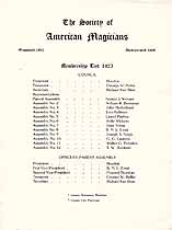 Thumbnail image of American Magicians Society 1923 Members List cover