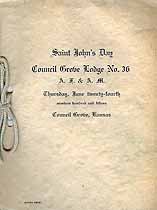 Thumbnail image of Council Grove Lodge, A. F. & A. M. 1915 Saint John's Day cover