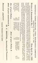 Thumbnail image of Oakfield Town Mutual Fire Insurance Company Assessment (Feb. 1909) cover