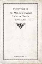 Thumbnail image of Mt. Moriah Evangelical Lutheran Church 1921 Dedication Program cover