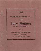 Thumbnail image of Mt. Blanchard Busy Mothers Club 1938 Program cover
