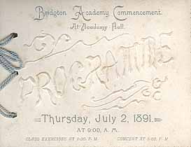 Thumbnail image of Bridgton Academy 1891 Commencement cover
