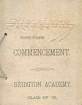 Thumbnail image of Bridgton Academy 1893 Commencement cover