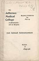 Thumbnail image of Jefferson Medical College 1895-96 Announcement cover