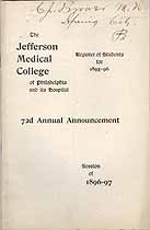 Thumbnail image of Jefferson Medical College 1896-97 Announcement cover