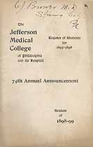 Thumbnail image of Jefferson Medical College 1898-99 Announcement cover