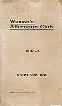 Thumbnail image of Fairland Woman's Afternoon Club 1906-1907 Programme cover