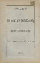 Thumbnail image of Iowa State Dental Society 1892 Report cover