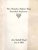 Thumbnail image of New Hampshire Orphans' Home 1914 Anniversary Program cover