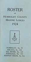 Thumbnail image of Humboldt County Masonic Lodges 1924 Roster cover