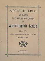 Thumbnail image of Wesserunsett Lodge I.O.O.F. 1891 By-Laws cover