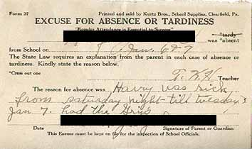 Thumbnail image of Excuse for Absence or Tardiness 1935/36 School Year cover