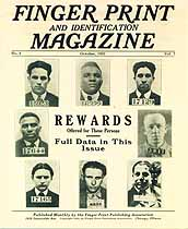 Thumbnail image of Finger Print and Identification Magazine, 1925, October Issue cover