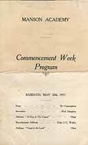 Thumbnail image of Manson Academy 1911 Commencement Week Program cover