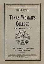 Thumbnail image of Texas Woman's College 1916 Bulletin Vol. 2, No. 4 cover