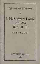 Thumbnail image of J. H. Stewart Lodge B. of R. T. 1919 Members cover