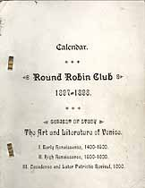Thumbnail image of Oxford Round Robin Club 1897-1898 Calendar cover