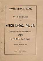 Thumbnail image of Union Lodge I.O.O.F. 1905 By-Laws cover