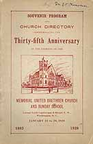 Thumbnail image of Memorial United Brethren Church and Sunday School 1928 Anniversary cover