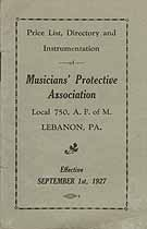 Thumbnail image of Musician's Protective Local No. 750 Directory for 1927 cover