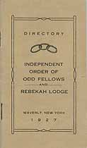 Thumbnail image of Waverly Odd Fellows and Rebekah Lodge 1927 Directory cover